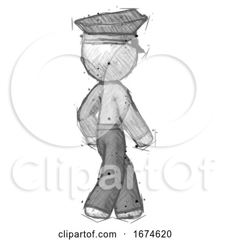 Sketch Police Man Walking Away Direction Right View by Leo Blanchette