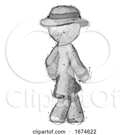 Sketch Detective Man Walking Away Direction Right View by Leo Blanchette