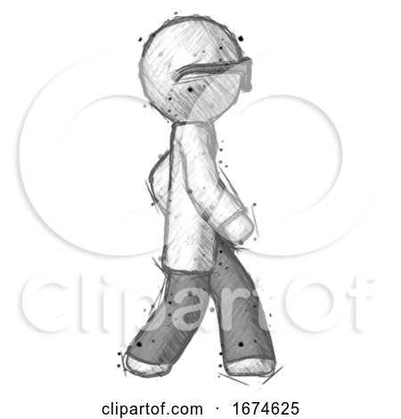 Sketch Doctor Scientist Man Walking Right Side View by Leo Blanchette