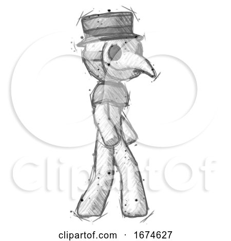 Sketch Plague Doctor Man Walking Turned Right Front View by Leo Blanchette