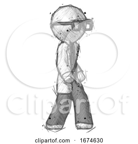 Sketch Doctor Scientist Man Walking Turned Right Front View by Leo Blanchette