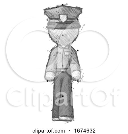 Sketch Police Man Walking Front View by Leo Blanchette