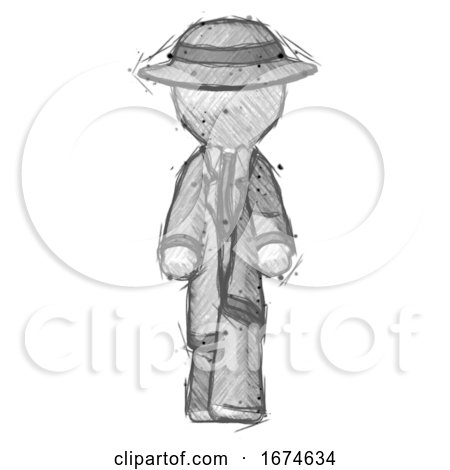 Sketch Detective Man Walking Front View by Leo Blanchette