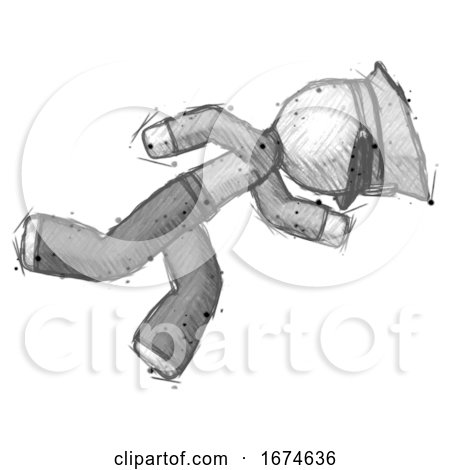 Sketch Police Man Running While Falling down by Leo Blanchette