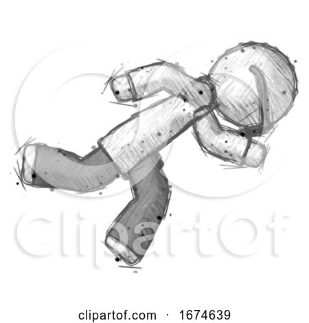 Sketch Doctor Scientist Man Running While Falling down by Leo Blanchette