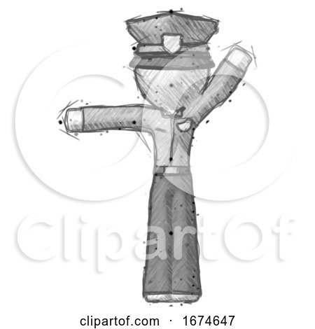 Sketch Police Man Directing Traffic Left by Leo Blanchette