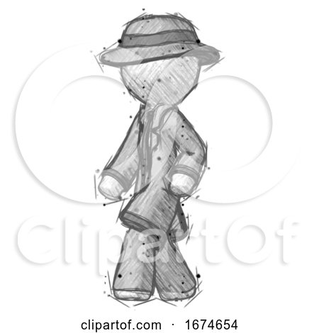 Sketch Detective Man Man Walking Turned Left Front View by Leo Blanchette