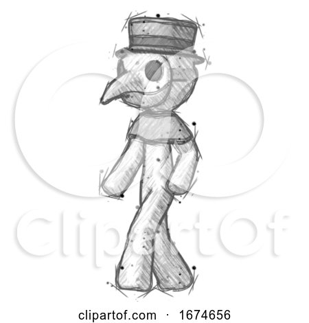 Sketch Plague Doctor Man Man Walking Turned Left Front View by Leo Blanchette
