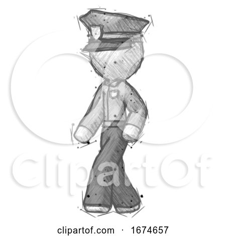 Sketch Police Man Man Walking Turned Left Front View by Leo Blanchette
