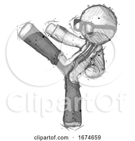 Sketch Doctor Scientist Man Ninja Kick Left by Leo Blanchette