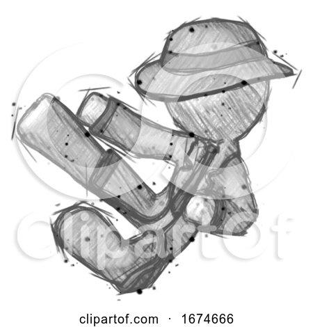 Sketch Detective Man Flying Ninja Kick Left by Leo Blanchette