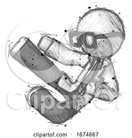 Sketch Doctor Scientist Man Flying Ninja Kick Left by Leo Blanchette