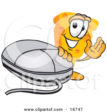 Clipart Picture of a Wedge of Orange Swiss Cheese Mascot Cartoon Character Waving and Standing by a Computer Mouse by Toons4Biz