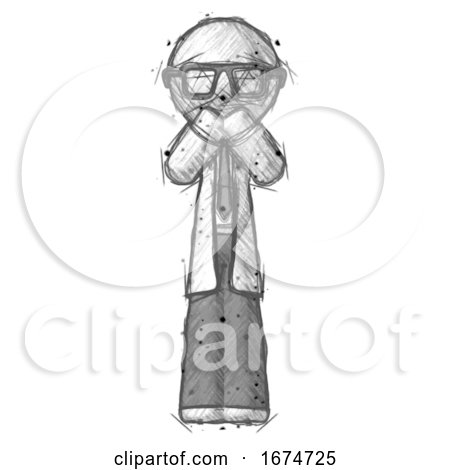 Sketch Doctor Scientist Man Laugh, Giggle, or Gasp Pose by Leo Blanchette
