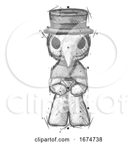 Sketch Plague Doctor Man Squatting Facing Front by Leo Blanchette