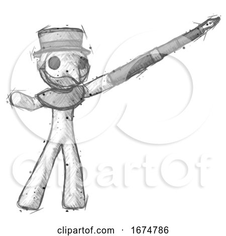 Sketch Plague Doctor Man Pen Is Mightier Than the Sword Calligraphy Pose by Leo Blanchette