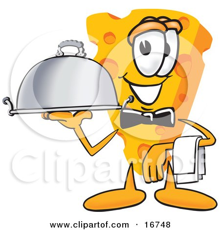 Clipart Picture of a Wedge of Orange Swiss Cheese Mascot Cartoon Character Carrying a Serving Platter While Waiting Tables by Toons4Biz