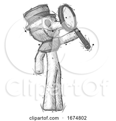 Sketch Plague Doctor Man Inspecting with Large Magnifying Glass Facing up by Leo Blanchette