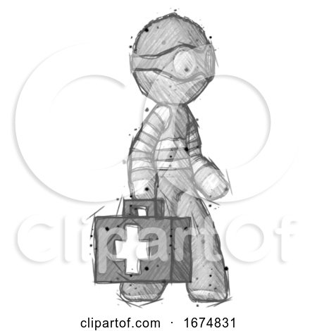 Sketch Thief Man Walking with Medical Aid Briefcase to Right by Leo Blanchette
