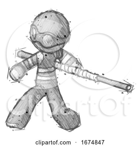 Sketch Thief Man Bo Staff Action Hero Kung Fu Pose by Leo Blanchette