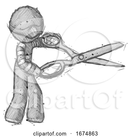 Sketch Thief Man Holding Giant Scissors Cutting out Something by Leo Blanchette