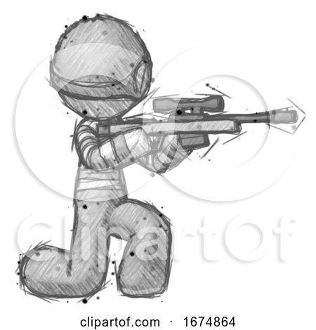 Sketch Thief Man Kneeling Shooting Sniper Rifle by Leo Blanchette