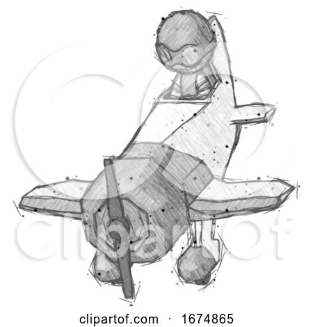 Sketch Thief Man in Geebee Stunt Plane Descending Front Angle View by Leo Blanchette