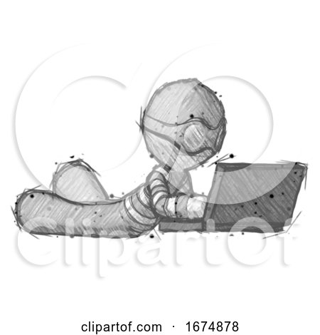 Sketch Thief Man Using Laptop Computer While Lying on Floor Side Angled View by Leo Blanchette