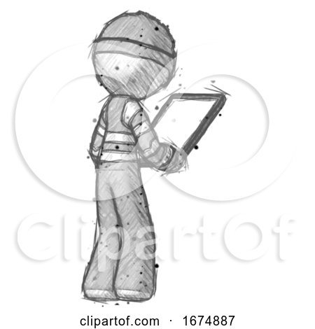 Sketch Thief Man Looking at Tablet Device Computer Facing Away by Leo Blanchette