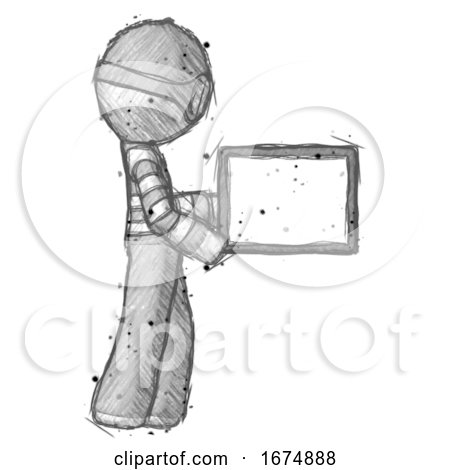 Sketch Thief Man Show Tablet Device Computer to Viewer, Blank Area by Leo Blanchette