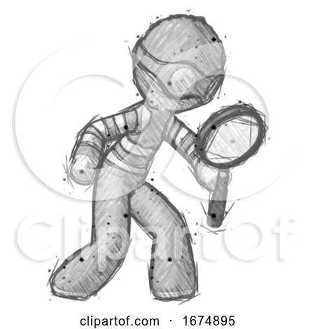 Sketch Thief Man Inspecting with Large Magnifying Glass Right by Leo Blanchette