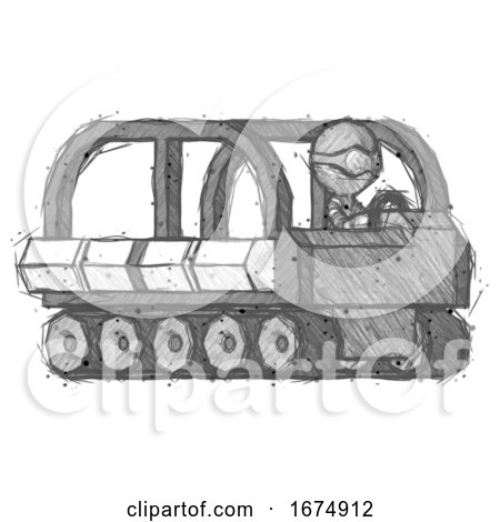 Sketch Thief Man Driving Amphibious Tracked Vehicle Side Angle View by Leo Blanchette