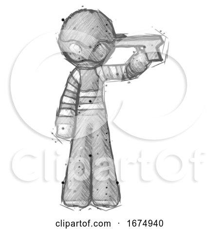 Sketch Thief Man Suicide Gun Pose by Leo Blanchette