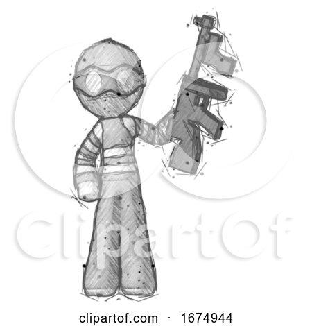 Sketch Thief Man Holding Tommygun by Leo Blanchette