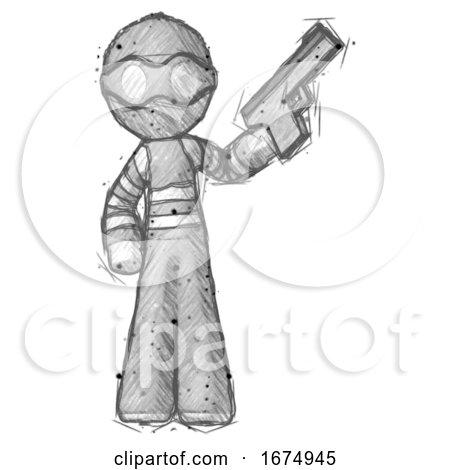Sketch Thief Man Holding Handgun by Leo Blanchette