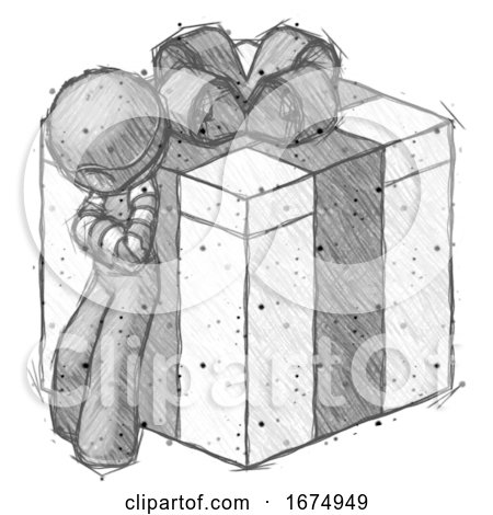 Sketch Thief Man Leaning on Gift with Bow Angle View by Leo Blanchette