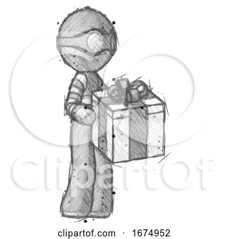 Sketch Thief Man Giving a Present by Leo Blanchette