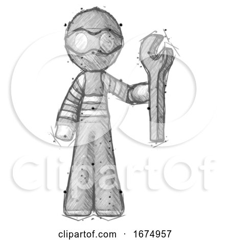 Sketch Thief Man Holding Wrench Ready to Repair or Work by Leo Blanchette