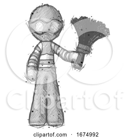 Sketch Thief Man Holding Feather Duster Facing Forward by Leo Blanchette