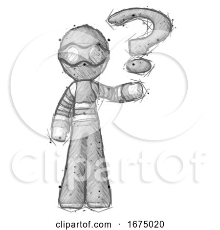Sketch Thief Man Holding Question Mark to Right by Leo Blanchette