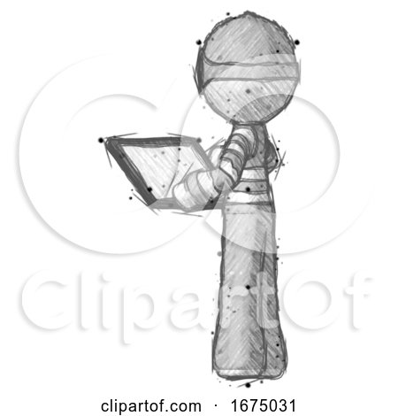 Sketch Thief Man Looking at Tablet Device Computer with Back to Viewer by Leo Blanchette