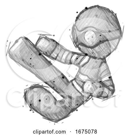 Sketch Thief Man Flying Ninja Kick Left by Leo Blanchette