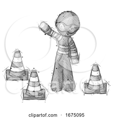 Sketch Thief Man Standing by Traffic Cones Waving by Leo Blanchette