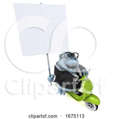 3d White Business Monkey Yeti Riding a Scooter, on a White Background Posters, Art Prints