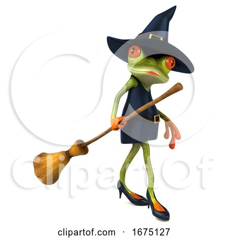3d Witch Frog, on a White Background by Julos