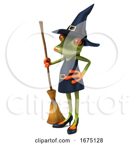 3d Green Female Springer Frog Witch Holding a Broom, on a White Background by Julos