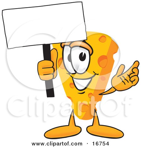 Clipart Picture of a Wedge of Orange Swiss Cheese Mascot Cartoon Character Waving a Blank White Advertising Sign by Toons4Biz
