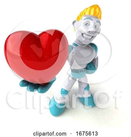 3d Blond Haired Male Robot Character, on a White Background Posters, Art Prints