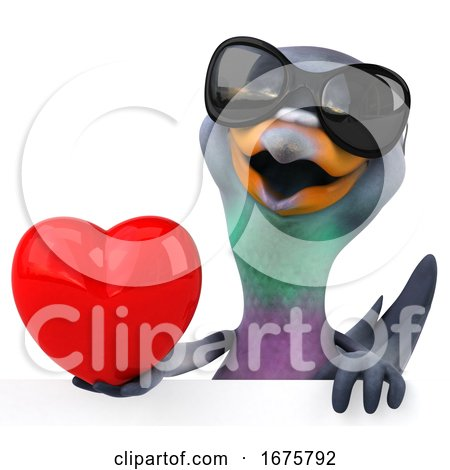 3d Pigeon, on a White Background Posters, Art Prints