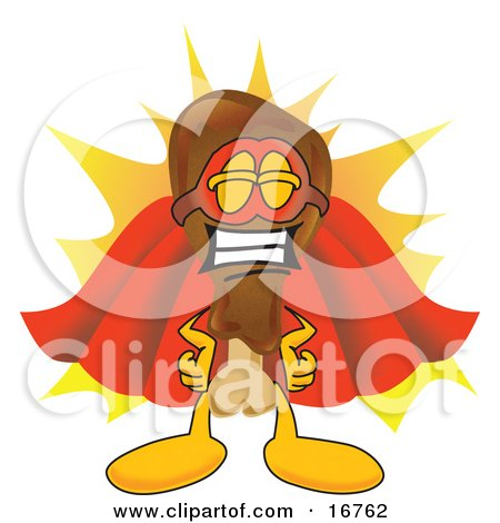 Clipart Picture of a Chicken Drumstick Super Hero Mascot Cartoon Character  by Toons4Biz
